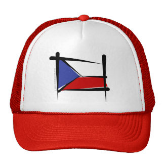 Czech Republic Brush Flag Trucker Hat