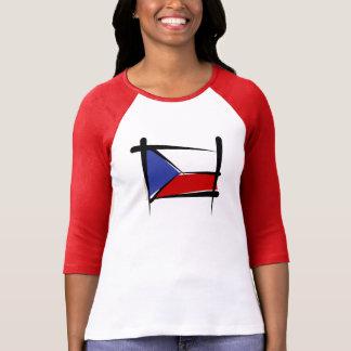 Czech Republic Brush Flag Tee Shirt