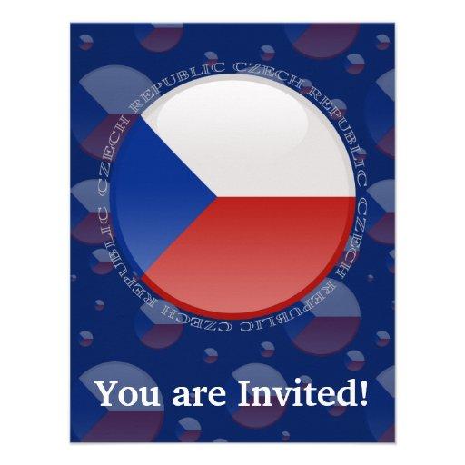 Czech Republic Bubble Flag Personalized Invitation