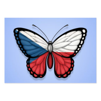 Czech Republic Butterfly Flag on Blue Business Card