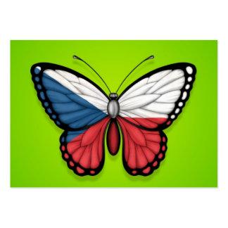 Czech Republic Butterfly Flag on Green Business Card Template