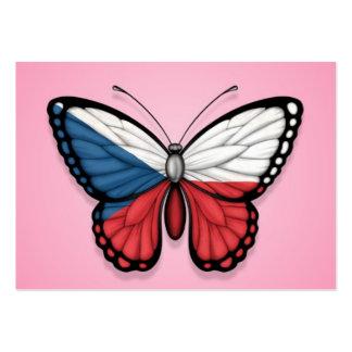 Czech Republic Butterfly Flag on Pink Business Card Templates