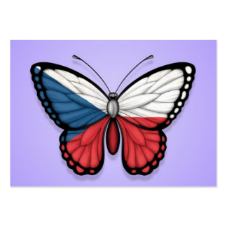 Czech Republic Butterfly Flag on Purple Business Card Template