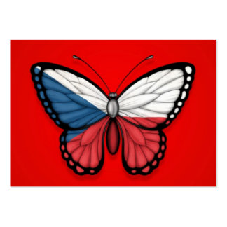 Czech Republic Butterfly Flag on Red Business Cards