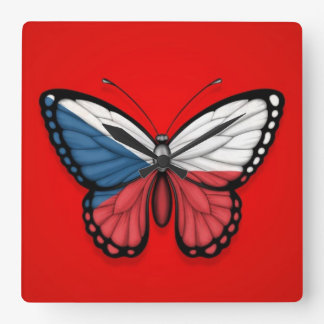 Czech Republic Butterfly Flag on Red Square Wallclocks