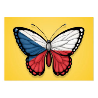 Czech Republic Butterfly Flag on Yellow Business Cards