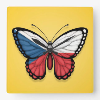 Czech Republic Butterfly Flag on Yellow Square Wall Clock