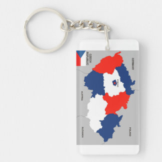 czech republic country political map flag keychain