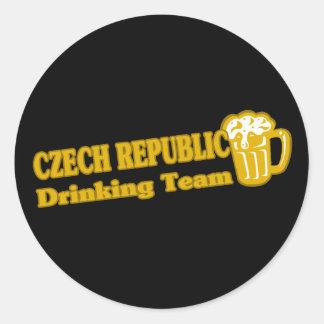 Czech Republic Drinking Team Round Stickers