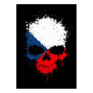 Czech Republic Dripping Splatter Skull Business Card Template