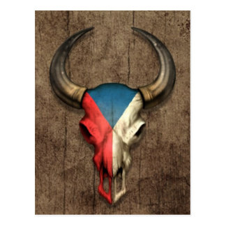 Czech Republic Flag Bull Skull on Wood Effect Postcard