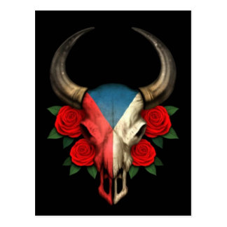 Czech Republic Flag Bull Skull with Red Roses Postcard