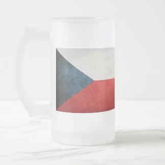 Czech Republic Flag; Frosted Glass Beer Mug