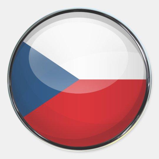 Czech Republic Flag Glass Ball Classic Round Sticker