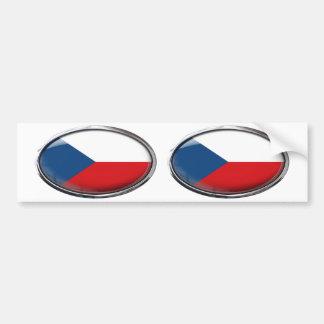 Czech Republic Flag Glass Oval Bumper Sticker