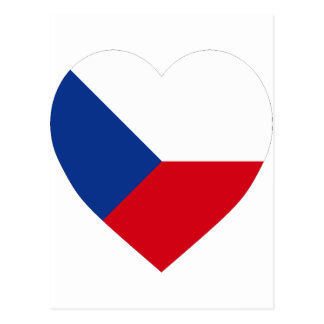 Czech Republic Flag Heart Postcard