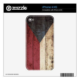 Czech Republic Flag on Old Wood Grain Skin For iPhone 4