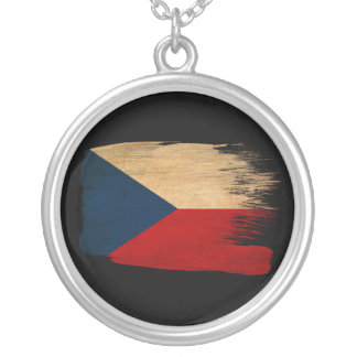 Czech Republic Flag Round Pendant Necklace