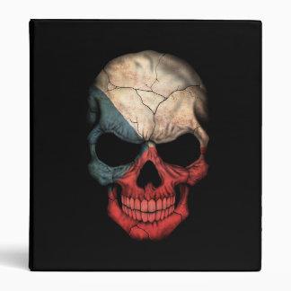 Czech Republic Flag Skull on Black Vinyl Binders