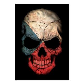 Czech Republic Flag Skull on Black Business Card Template