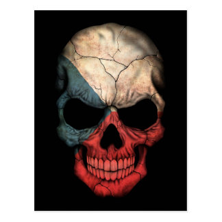 Czech Republic Flag Skull on Black Postcard