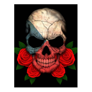 Czech Republic Flag Skull with Red Roses Postcard