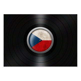 Czech Republic Flag Vinyl Record Album Graphic Business Card