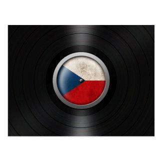 Czech Republic Flag Vinyl Record Album Graphic Postcard