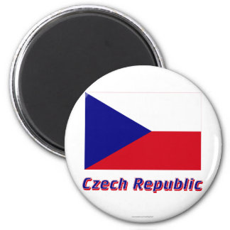 Czech Republic Flag with Name 2 Inch Round Magnet