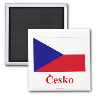 Czech Republic Flag with Name in Czech Magnet