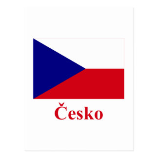Czech Republic Flag with Name in Czech Postcard