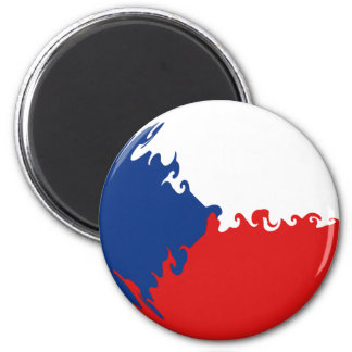 Czech Republic Gnarly Flag 2 Inch Round Magnet