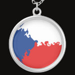 Czech Republic Gnarly Flag Silver Plated Necklace