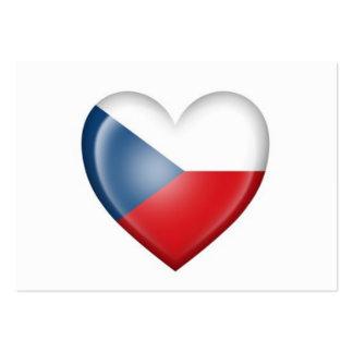 Czech Republic Heart Flag on White Business Card Template