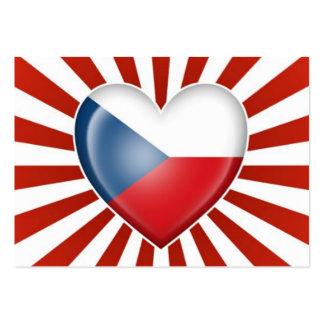 Czech Republic Heart Flag with Star Burst Business Card Template