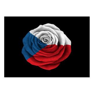 Czech Republic Rose Flag on Black Business Card Template