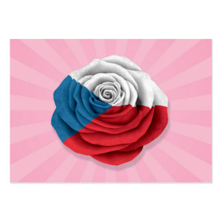 Czech Republic Rose Flag on Pink Business Card