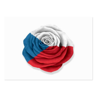 Czech Republic Rose Flag on White Business Card Template