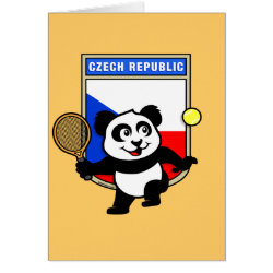 Greeting Card with Czech Tennis Panda design