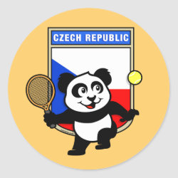 Round Sticker with Czech Tennis Panda design