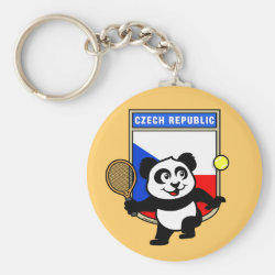 Basic Button Keychain with Czech Tennis Panda design