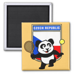 Square Magnet with Czech Tennis Panda design