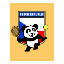 Postcard with Czech Tennis Panda design