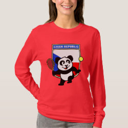 Women's Basic Long Sleeve T-Shirt with Czech Tennis Panda design