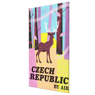 Czech Republic Vintage Deer Travel poster Canvas Print