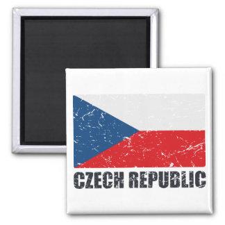 Czech Republic Vintage Flag 2 Inch Square Magnet
