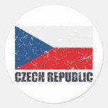 Czech Republic Vintage Flag Classic Round Sticker