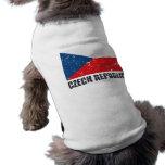 Czech Republic Vintage Flag Dog Tee Shirt