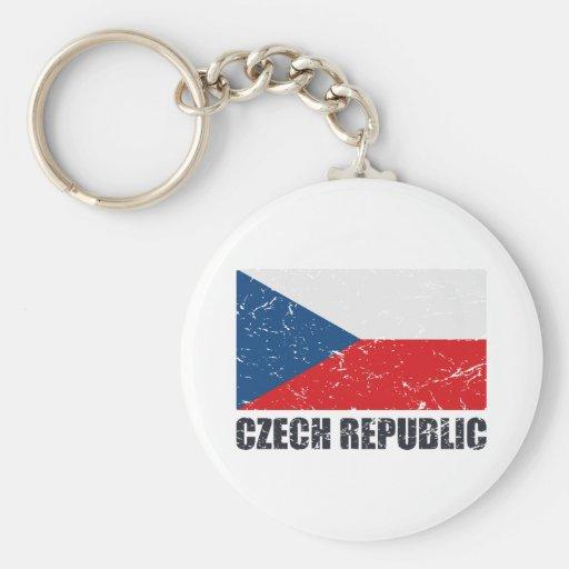 Czech Republic Vintage Flag Key Chain