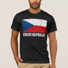 Czech Republic Vintage Flag T-shirt at Zazzle